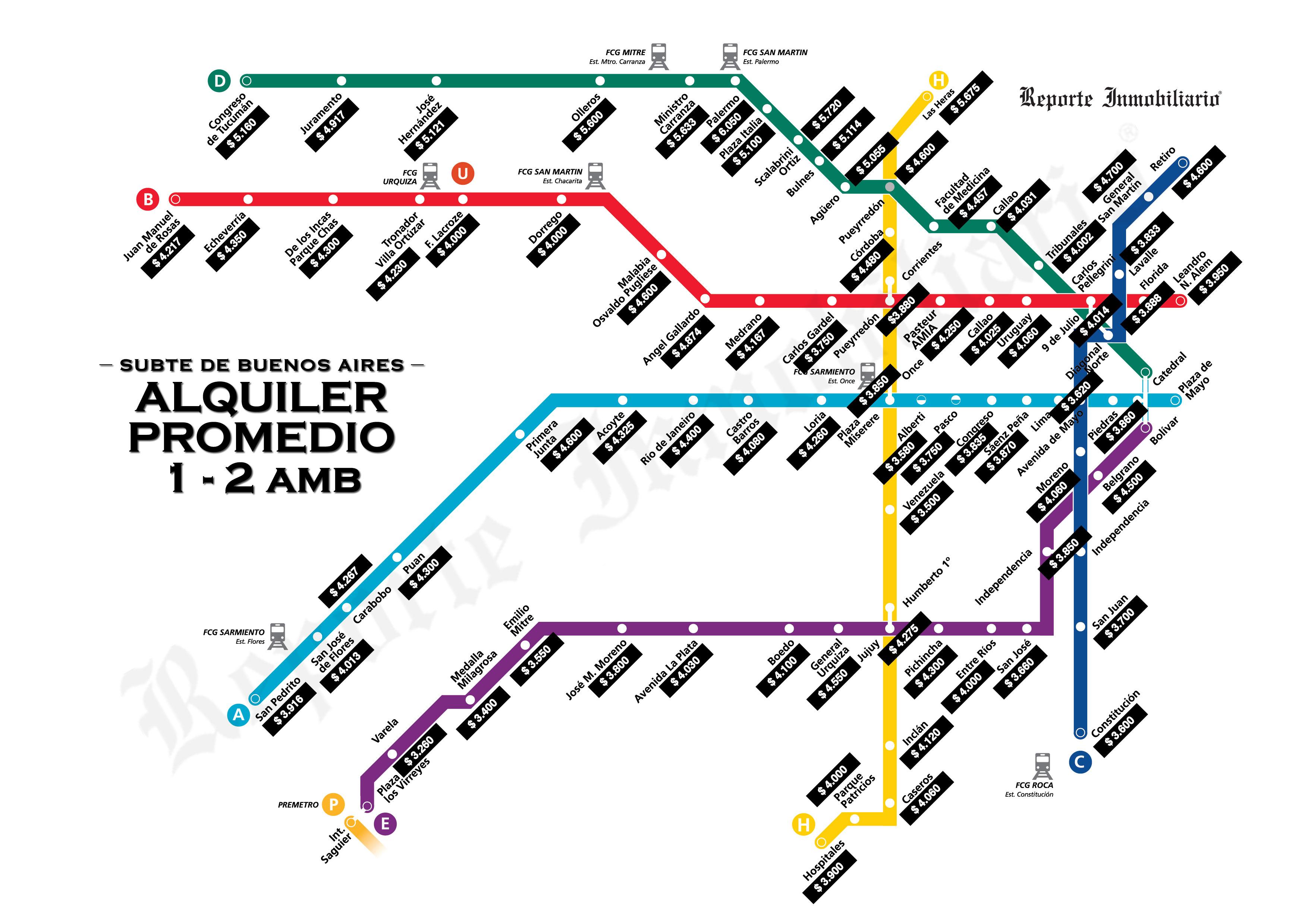 Precios De Alquileres Cercanos Al Subte Noticias Sobre - Argentina subte map